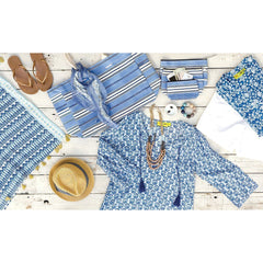 Sea Urchin Blue Cotton Beach Coverup Tunic - rockflowerpaper LLC