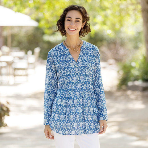 Iris Navy Cotton Pintuck Tunic - rockflowerpaper LLC