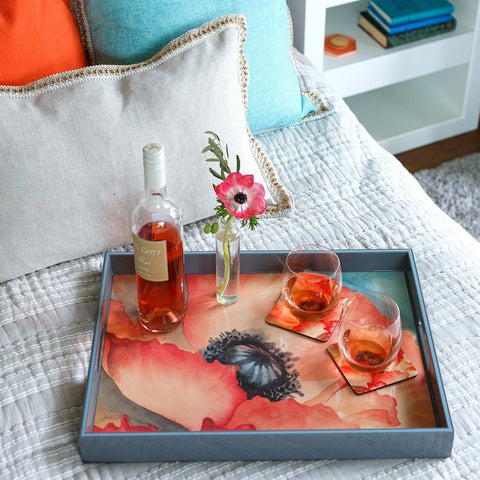 Poppy Square Art Coasters - Set of Four