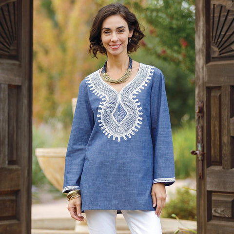 Keros Indigo Embroidered Tunic
