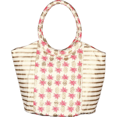Pineapples Gold/Pink Canvas Beach Bucket Bag - rockflowerpaper LLC