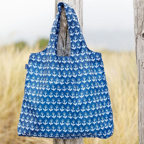 Anchor Navy Blu Bag Reusable Shopping Bag - rockflowerpaper LLC
