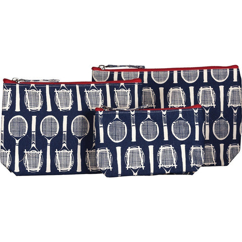 Wimbledon Navy Canvas Cosmetic Bags - Set of 3 - rockflowerpaper LLC