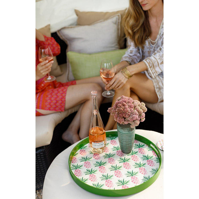 Pink Pineapples 18 inch Round Lacquer Serving Tray - rockflowerpaper LLC