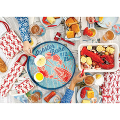 Lobster Bake 18 inch Round Lacquer Serving Tray - rockflowerpaper LLC