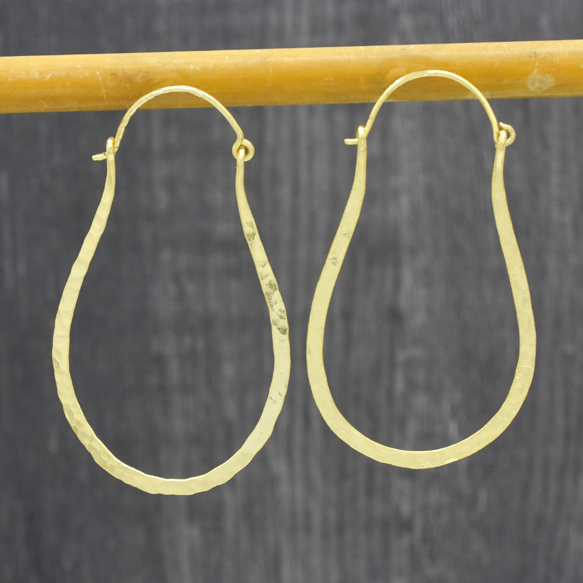 Elongated Hammered Oblong Hoop Earrings Gold Plated