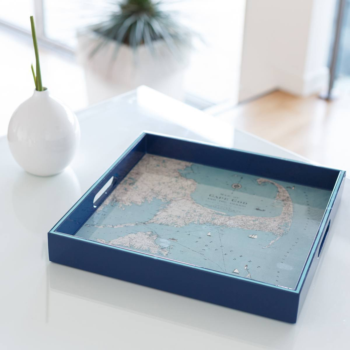 Cape Cod 15 inch Square Lacquer Art Serving Tray - rockflowerpaper LLC