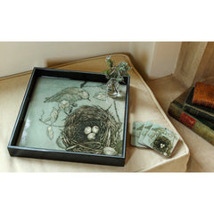 Warbler Nest 15 inch Square Lacquer Art Serving Tray - rockflowerpaper LLC