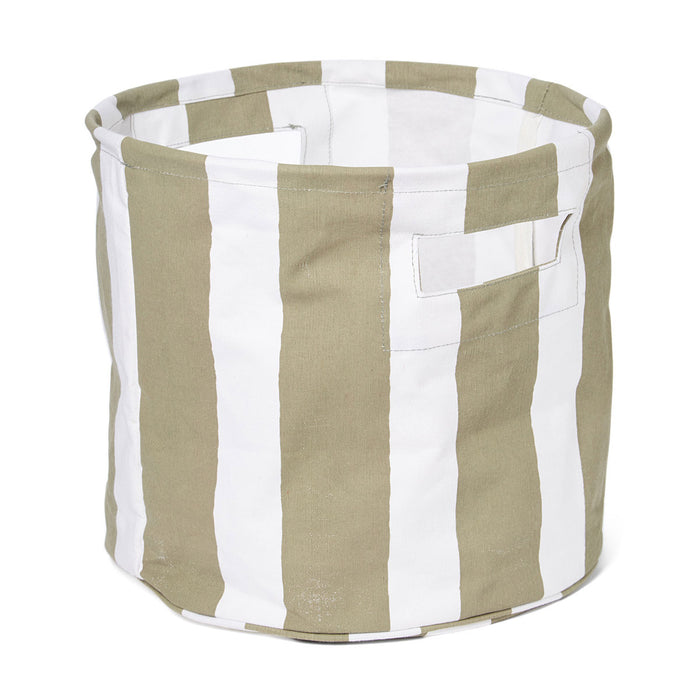 Cabana Stripe Grey Canvas Basket