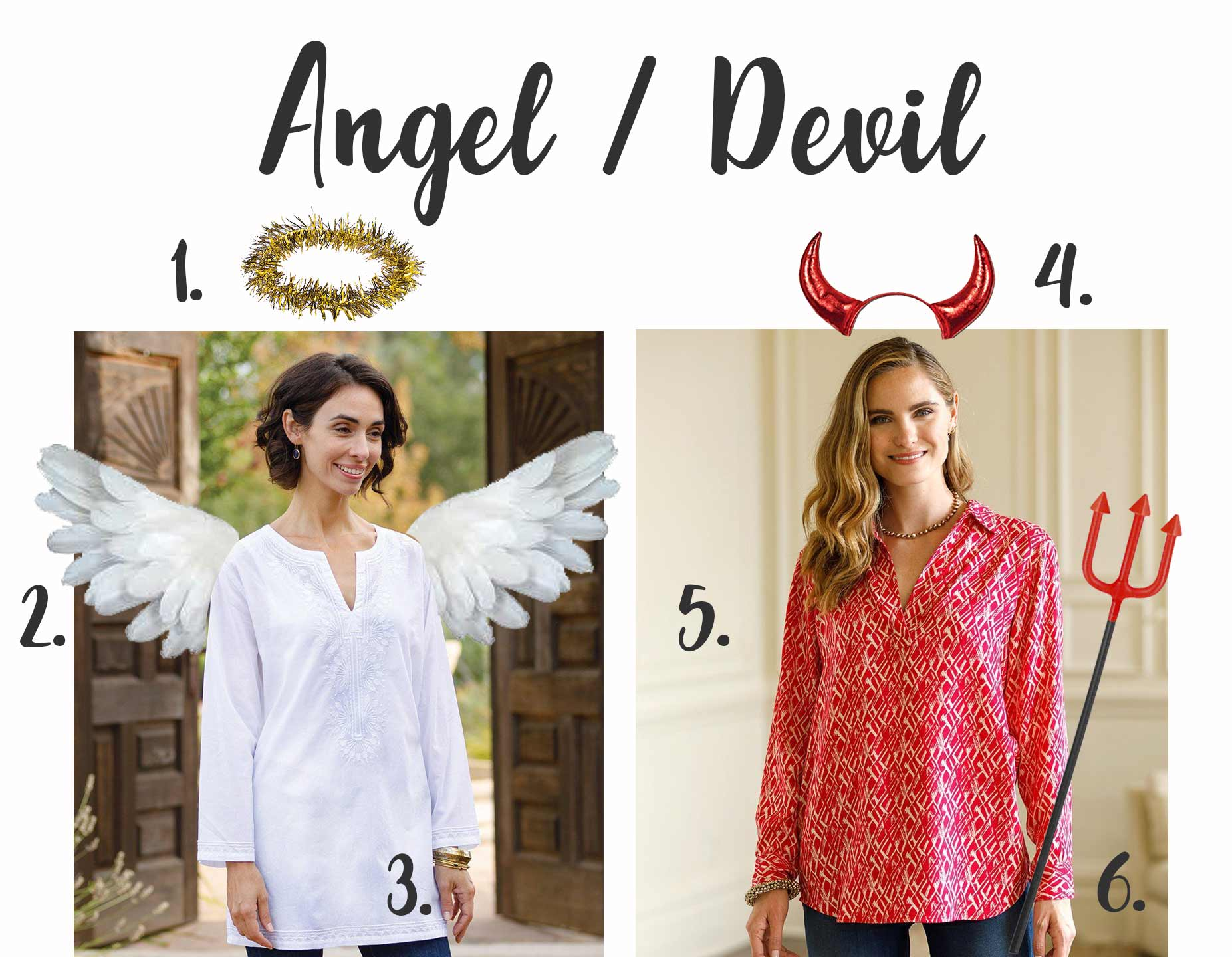 angel and devil halloween costumes using a white long sleeved tunic and a red long sleeved collared shirt