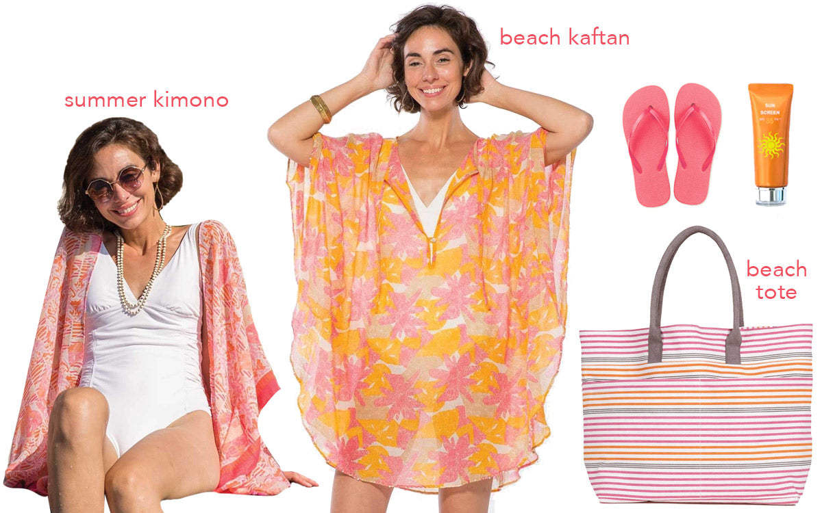 a collage of beach day items like a summer kimono, beach kaftan, beach tote bag