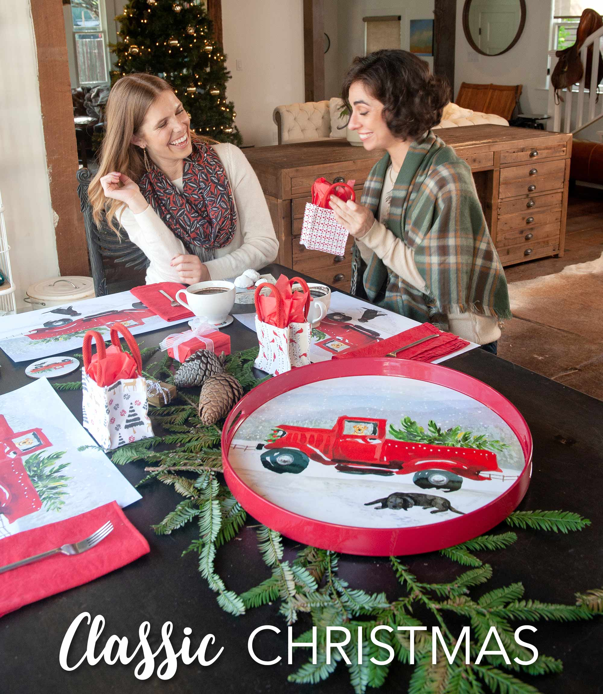 Classic Christmas holiday home decor - vintage red truck tray and placemats