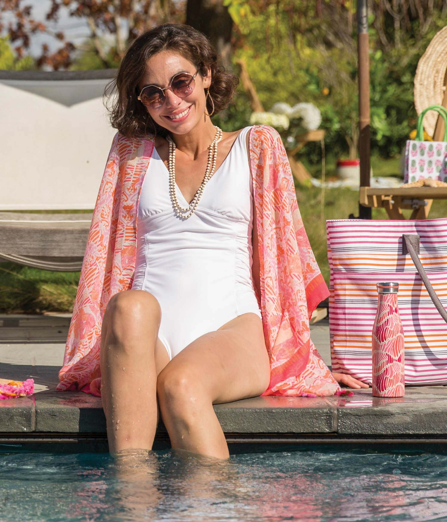 Use our lightweight summer kimono as a bathingsuit cover up! Perfect for the pool and the beach.