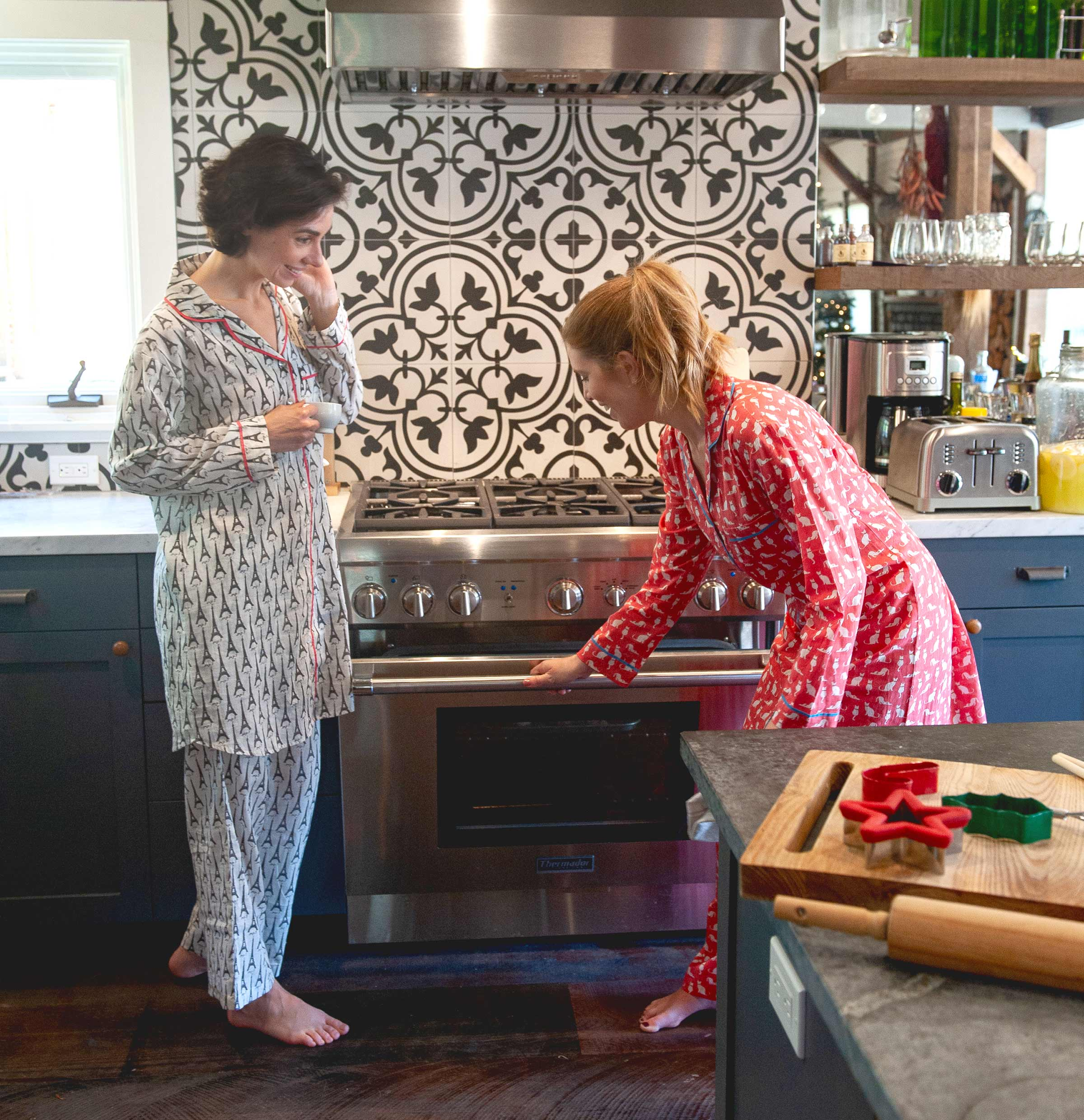 Baking cookies in comfy cotton loungewear