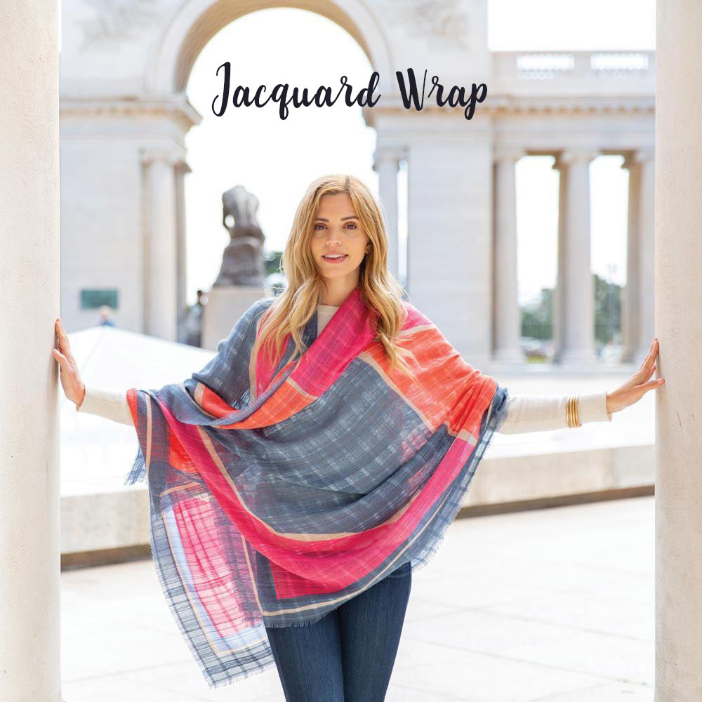 Jacquard Wrap or Scarf in Bauhaus Pink