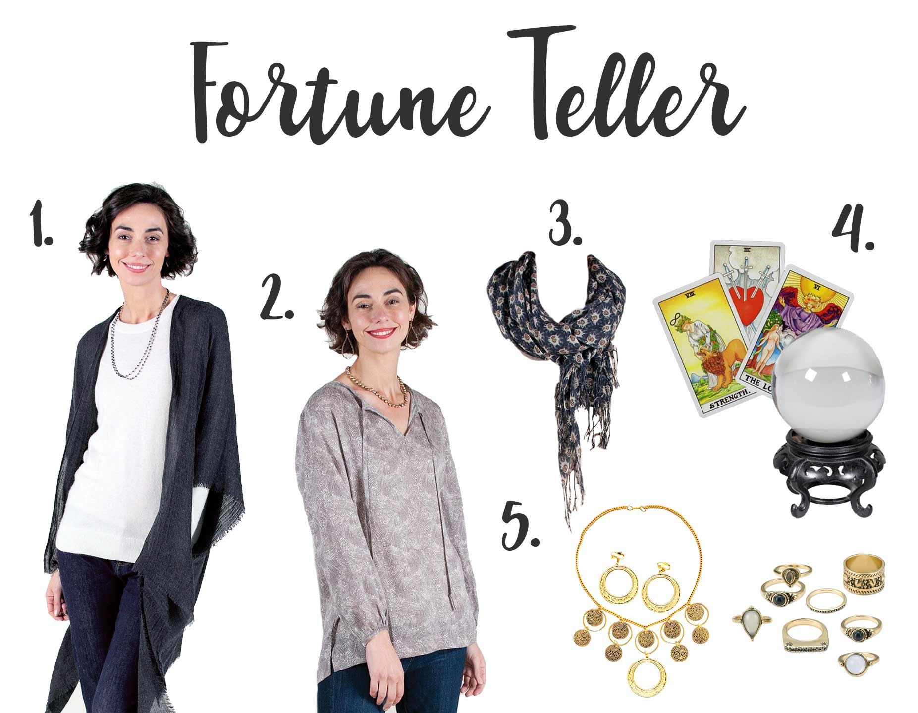fortune teller halloween costume using black fringe kimono, grey peasant blouse, and black scarf