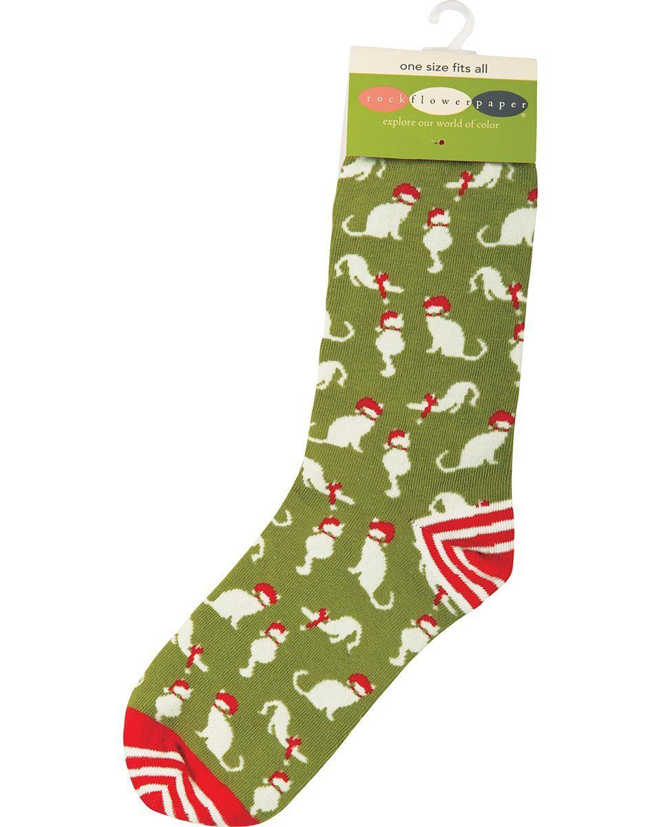 Lime green socks with Christmas cat print