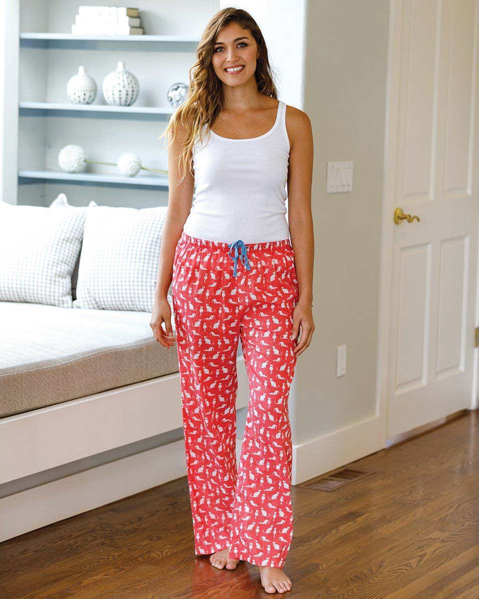 Cat print pajama lounge pants with cat print