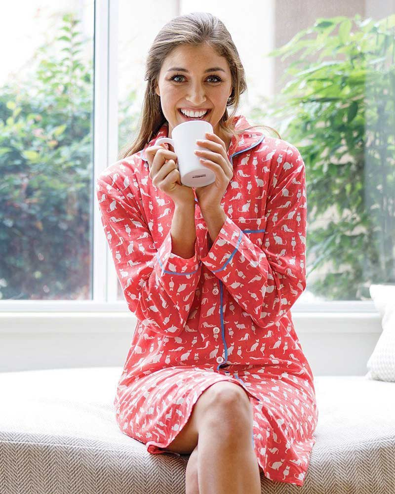 Pink sleep shirt pajamas with cat print