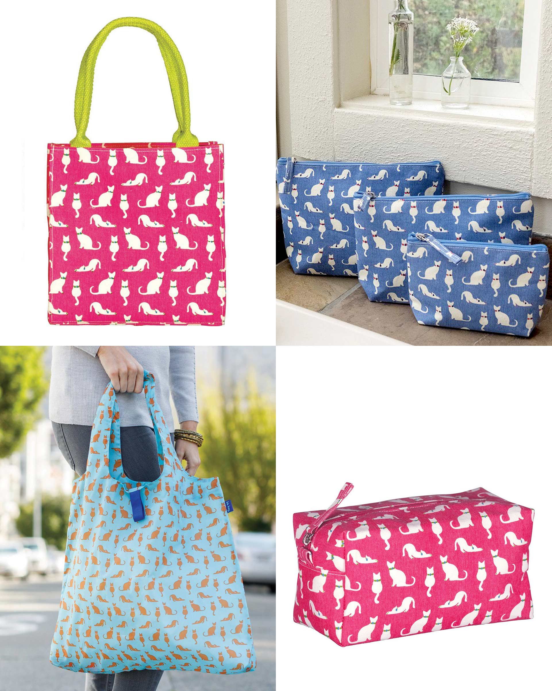 pink and blue tote bags with cat print