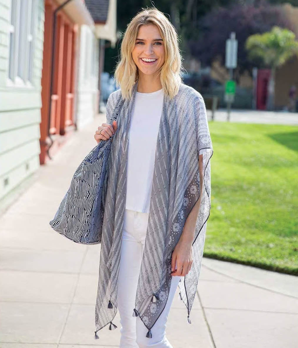 A cute grey and white kimono for summer perks up any outfit!