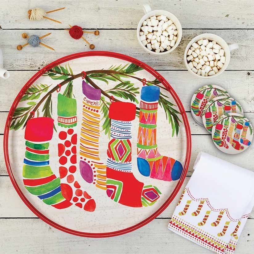 Colorful Holiday Stockings Serving Tray and Matching Coasters