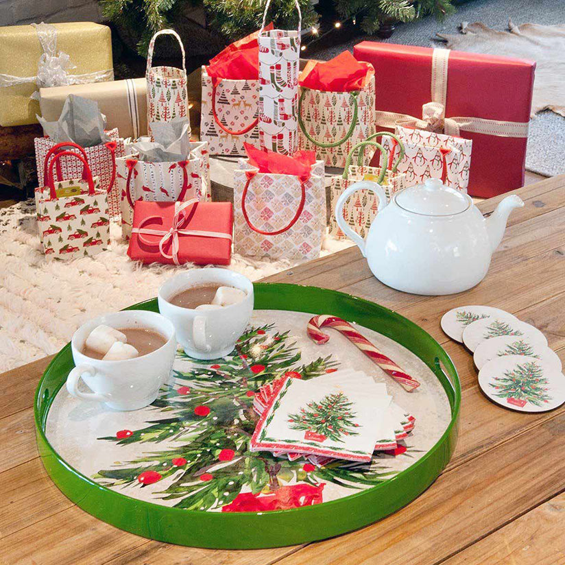 Classic red and green christmas tree serving tray with matching coasters
