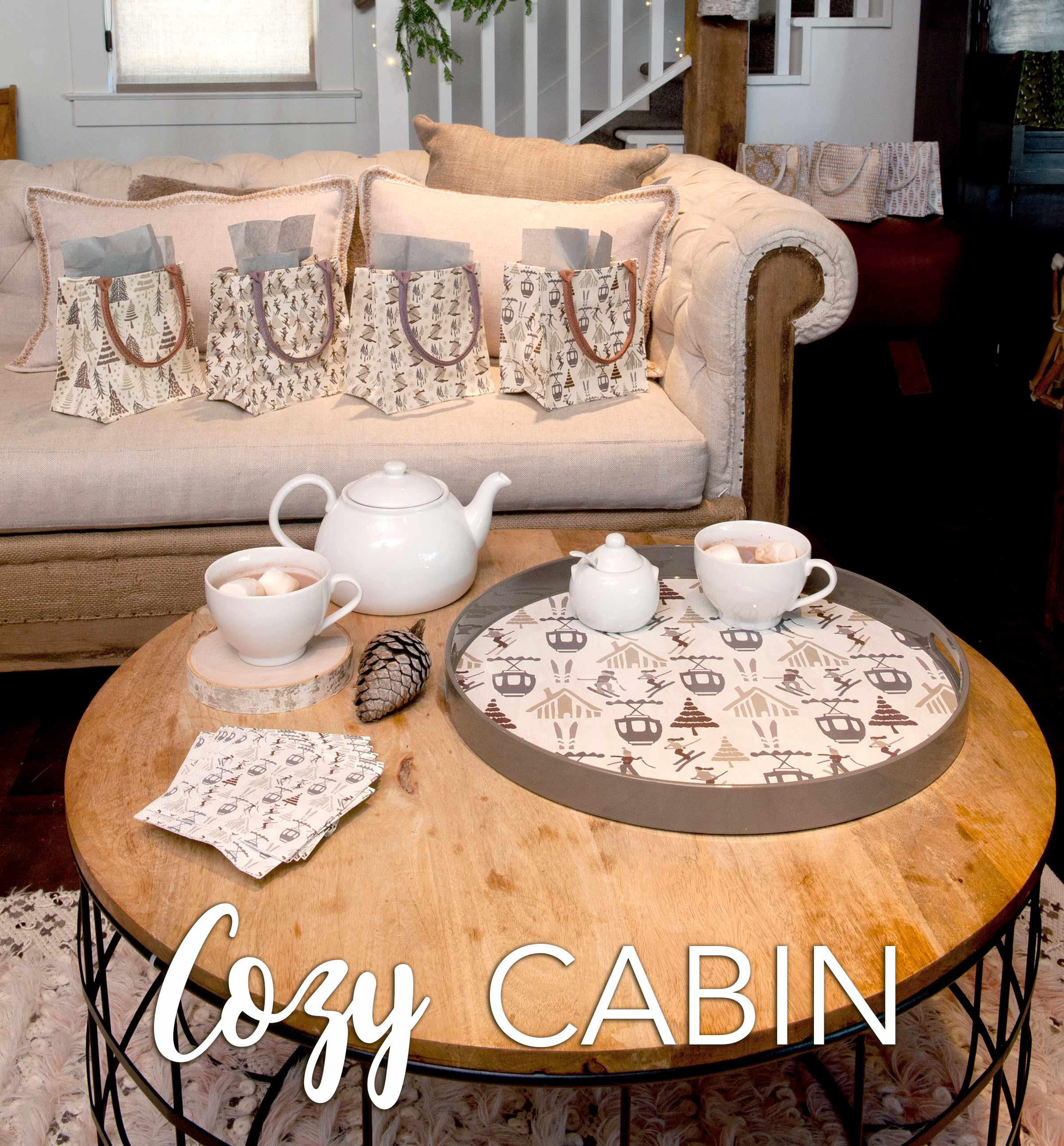 cozy cabin decor incl. ski-themed serving tray, coasters, napkins and gift bags
