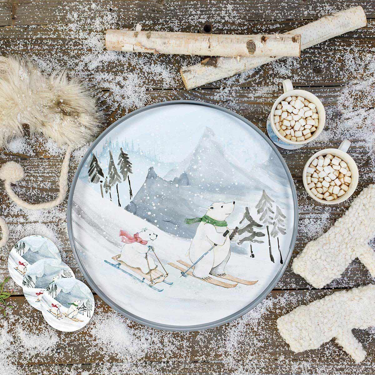 Ski Bears holiday serving tray and matching coasters