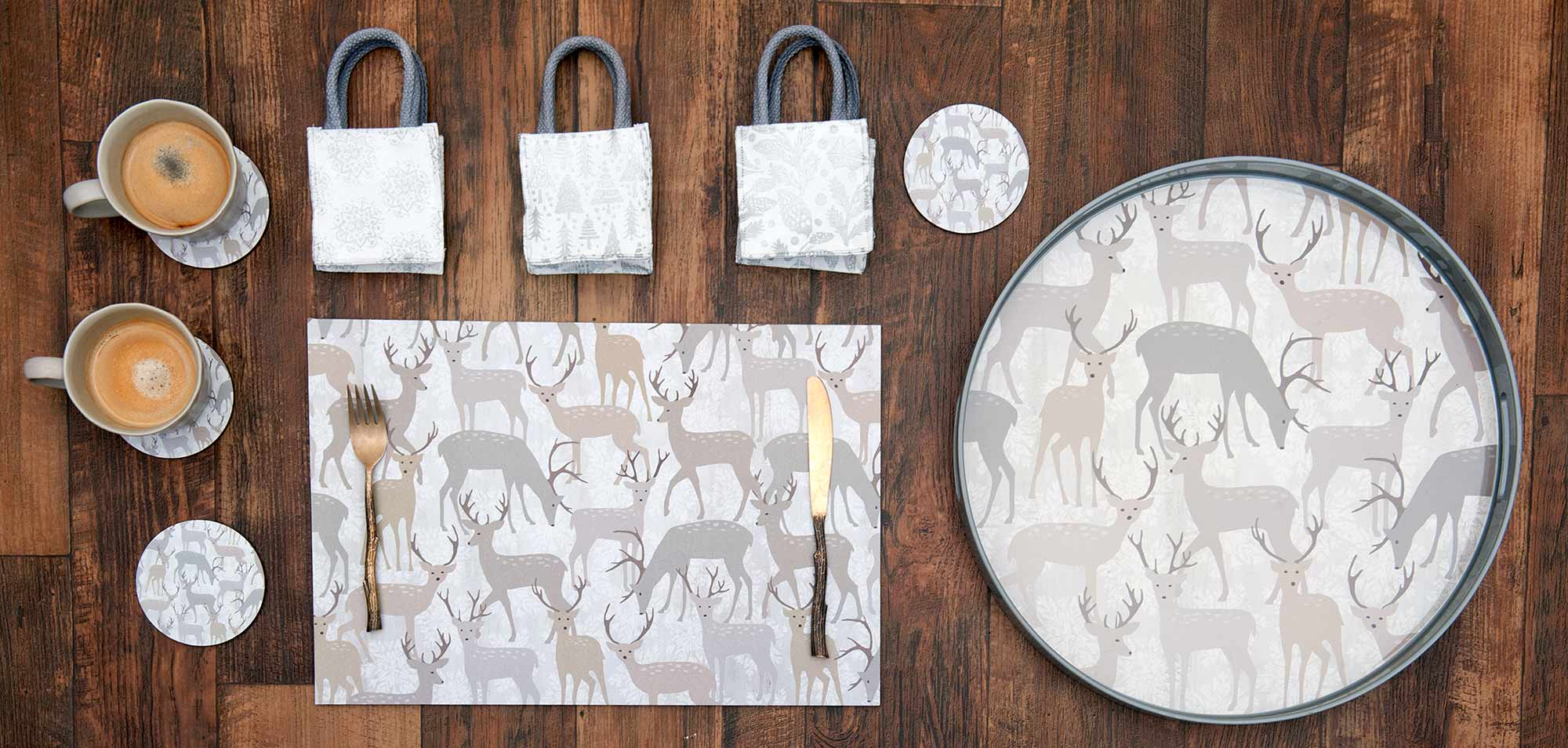Deer-themed home decor for soft, neutral, winter home decor. Coasters, placemats, serving tray.