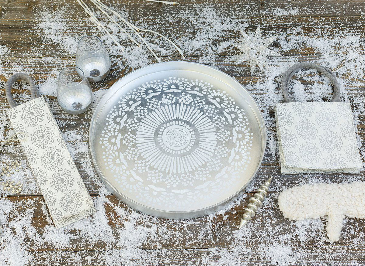 Silver Metallic serving tray and gift bags for holiday entertaining