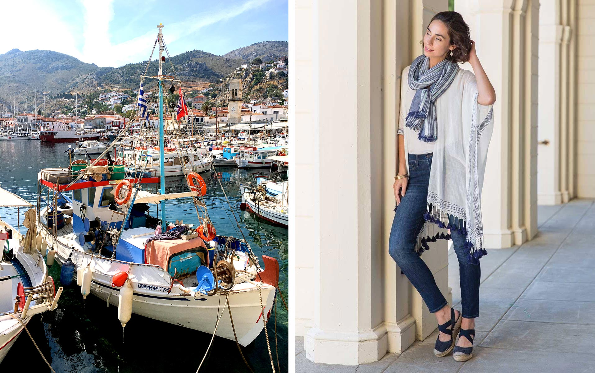 Blue & white kimono wrap and striped scarf inspired by life in Hydra, Greece