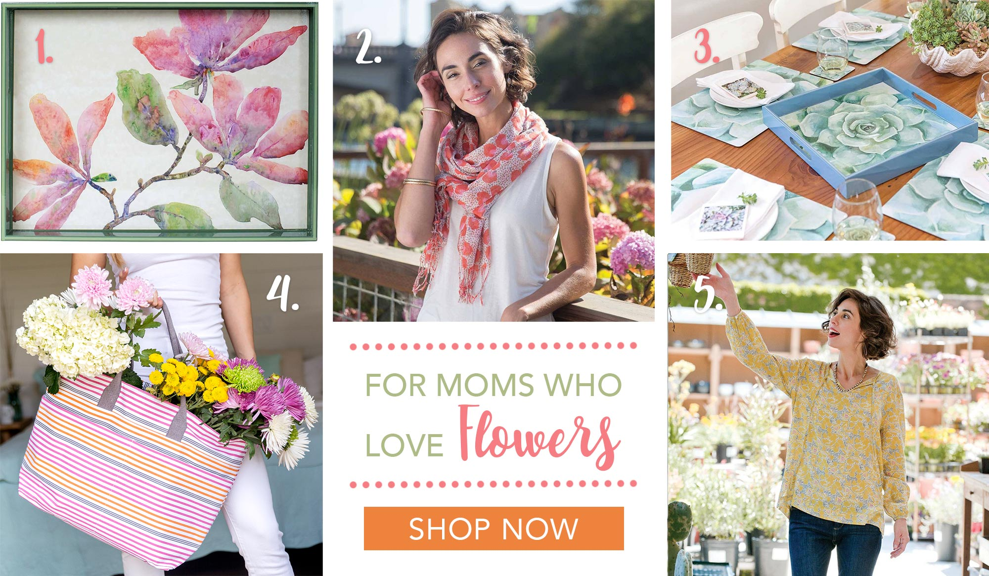 Beautiful gifts for mother's day - floral print scarves and flower art lacquer trays