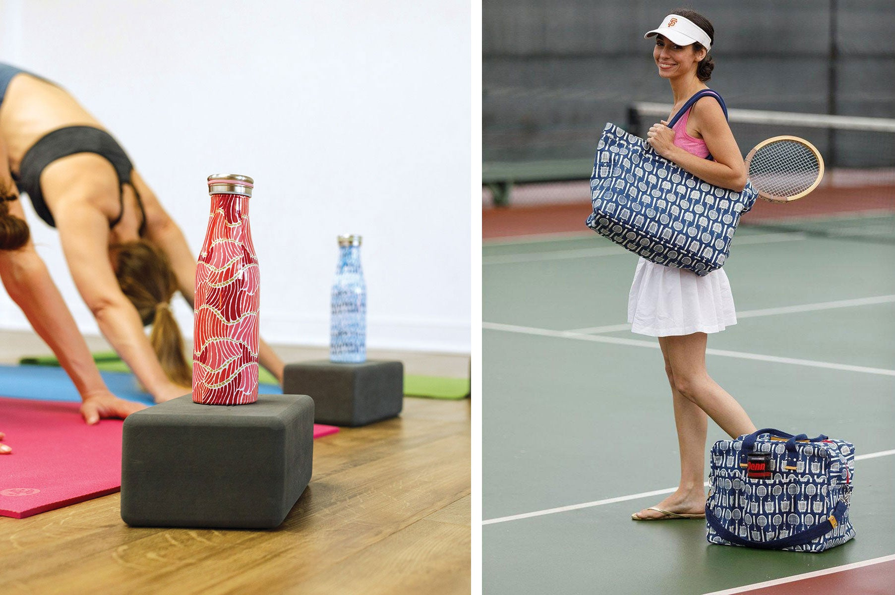 get fit in the new year - reusable blu bottle at yoga class