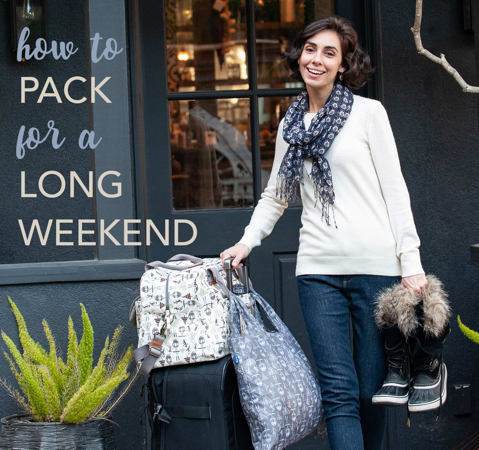 how to pack for a long weekend - woman wearing a scarf and holding a suitcase and overnighter bag
