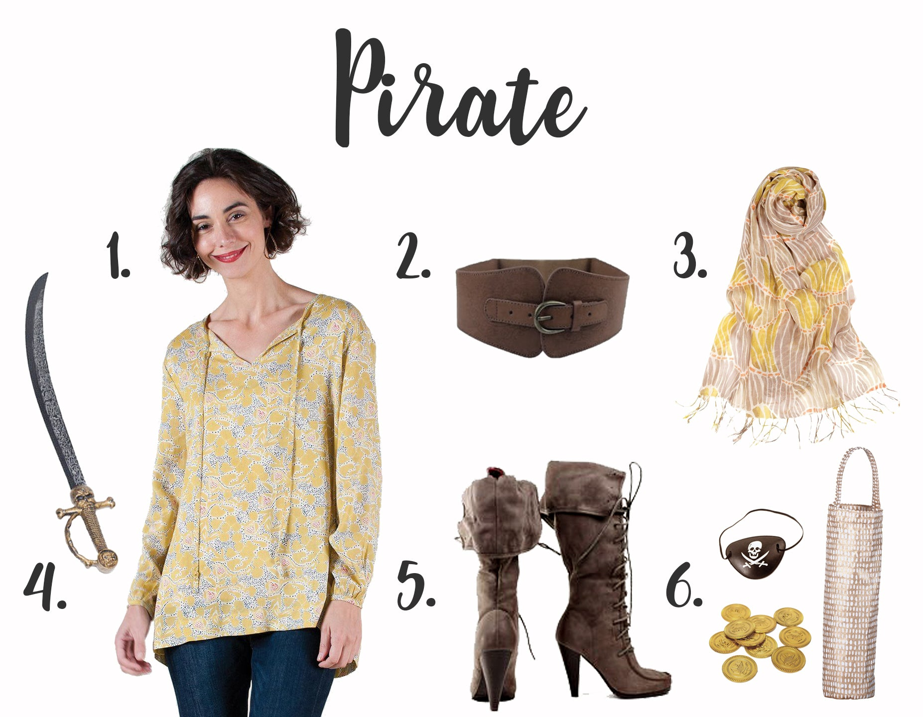pirate costume for women with stylish yellow peasant blouse and patterned scarf