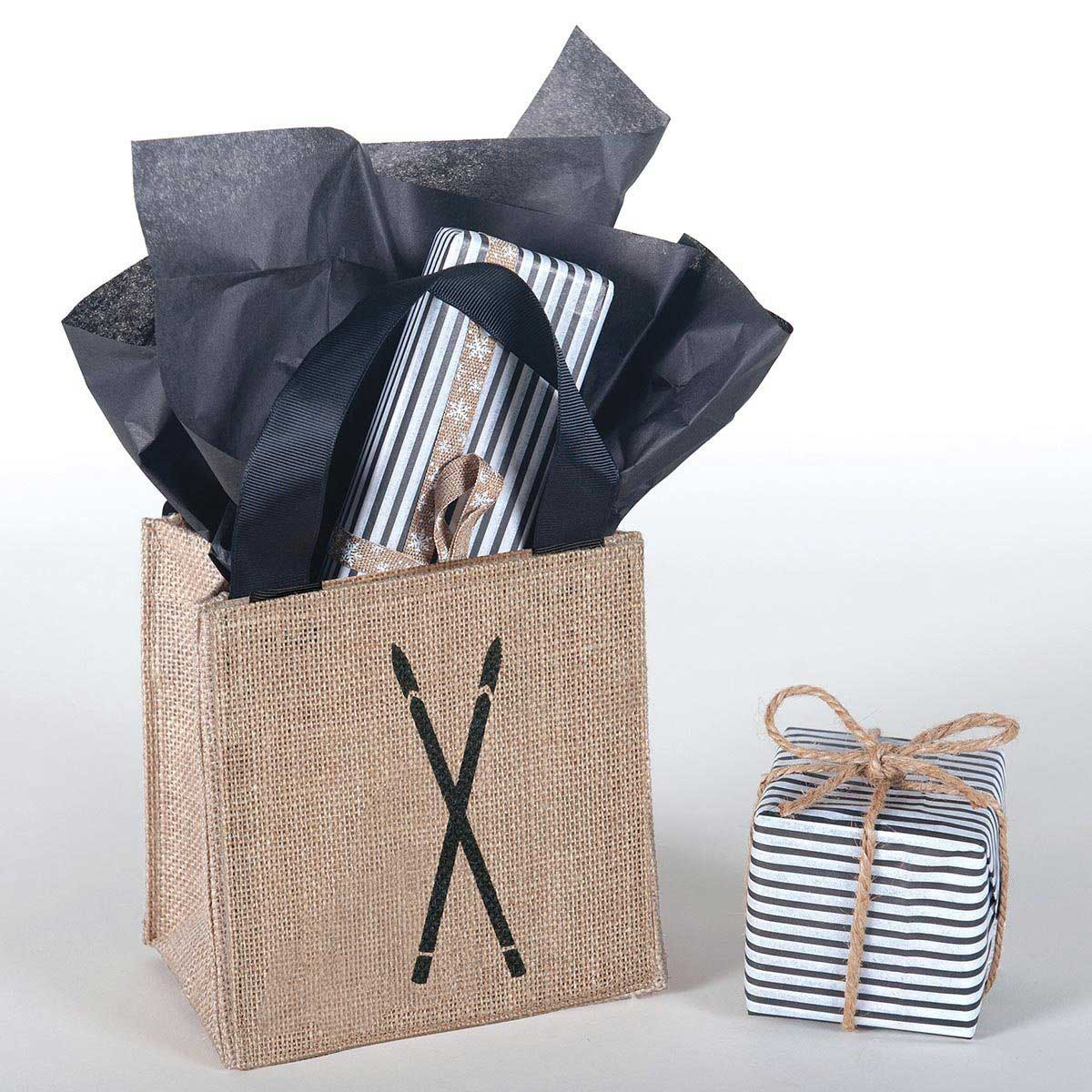 rustic jute gift tote bag with black ski vintage ski print and black grosgrain ribbon handles