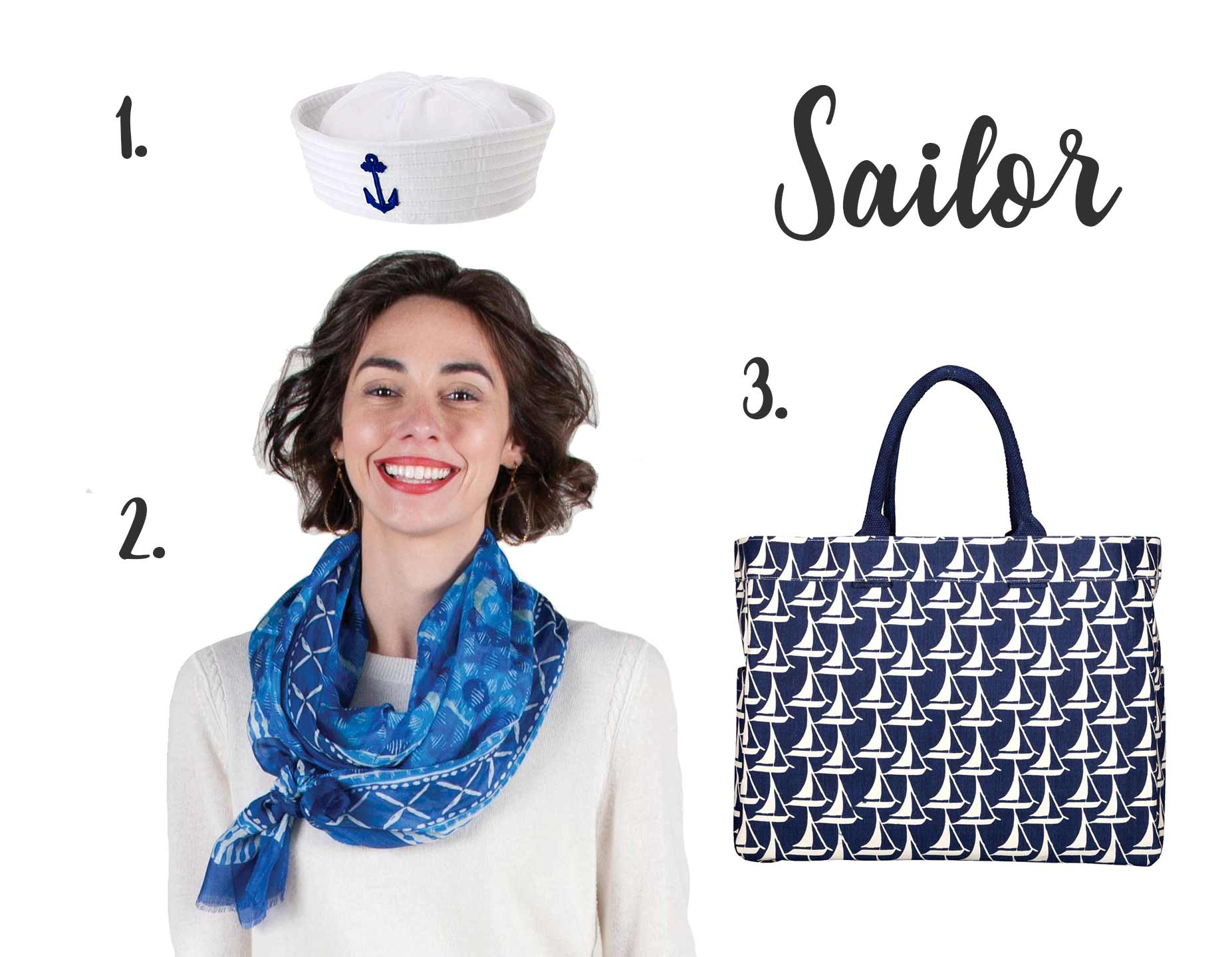 women's sailor costume using a blue silk scarf and sailboat tote bag
