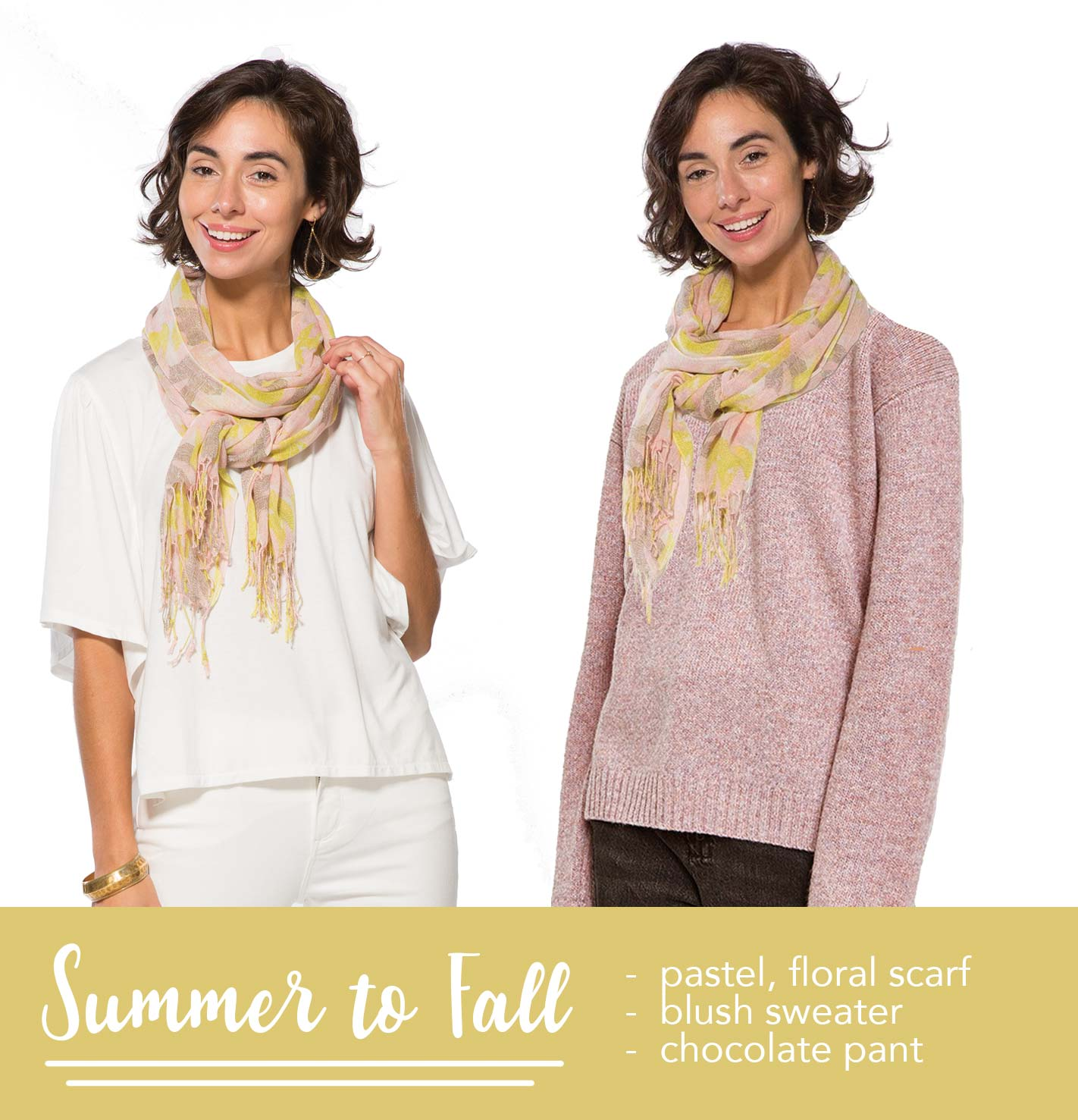 woman wearing a floral yellow scarf in a spring outfit vs. a fall outfit