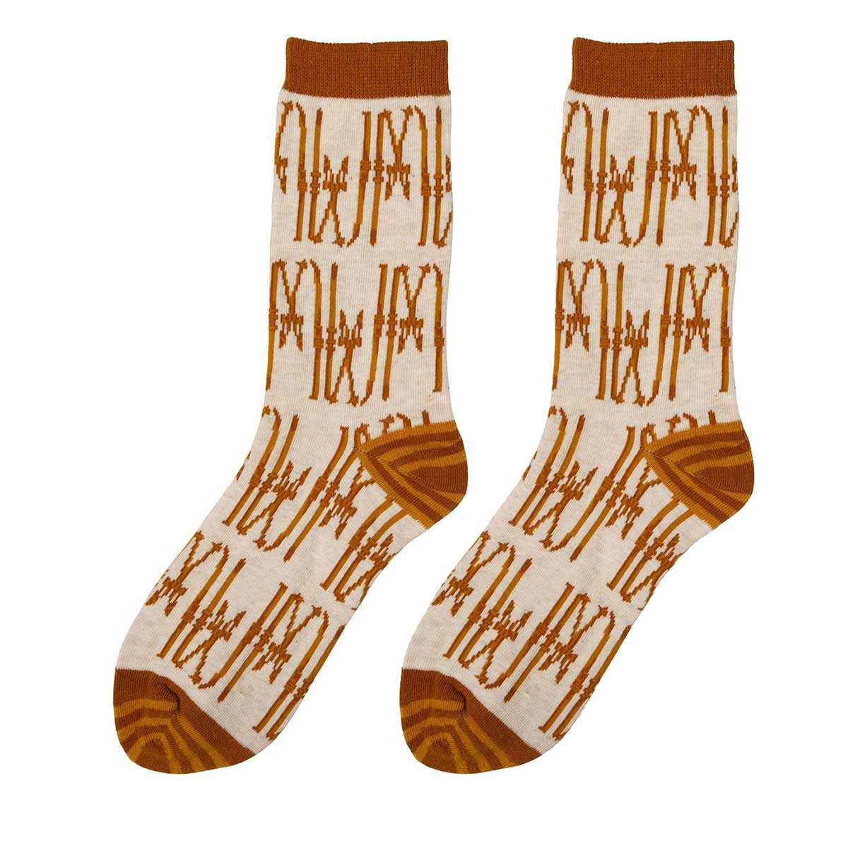 vintage ski print socks in beige and brown