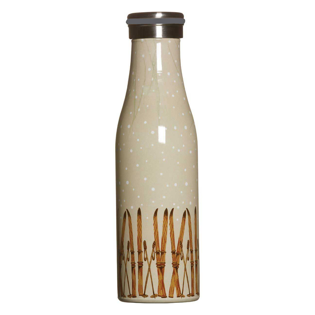 blu bottle - reusable water bottle with vintage ski print in brown and beige