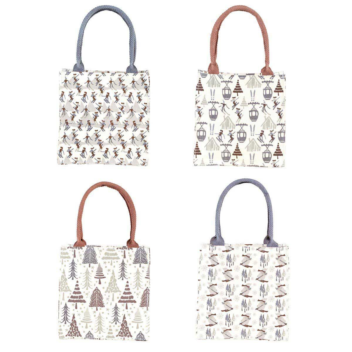 Mountain Fun canvasy itsy bitsy totes with cute ski theme