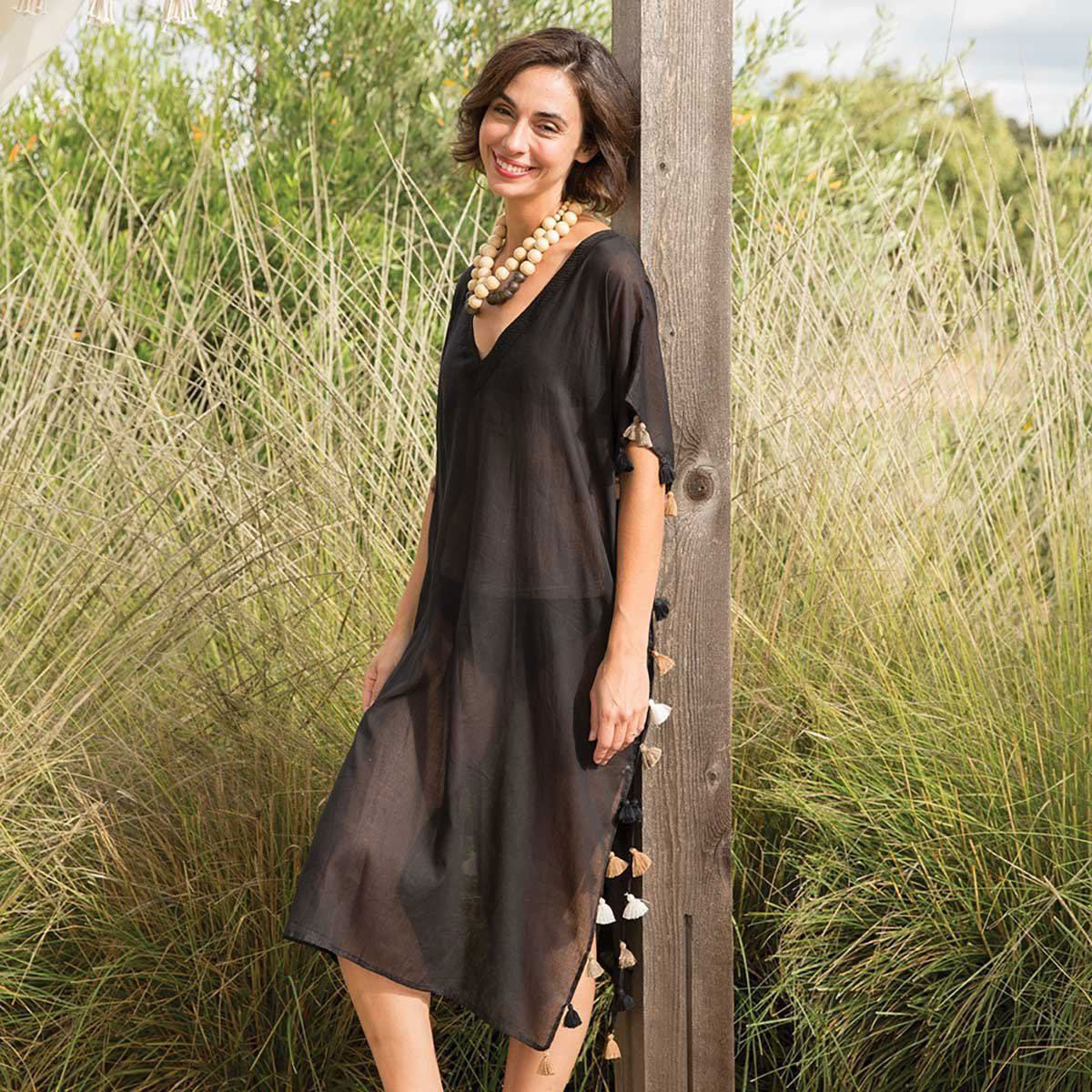 Long black tasseled kaftan - perfect bathing suit coverup!