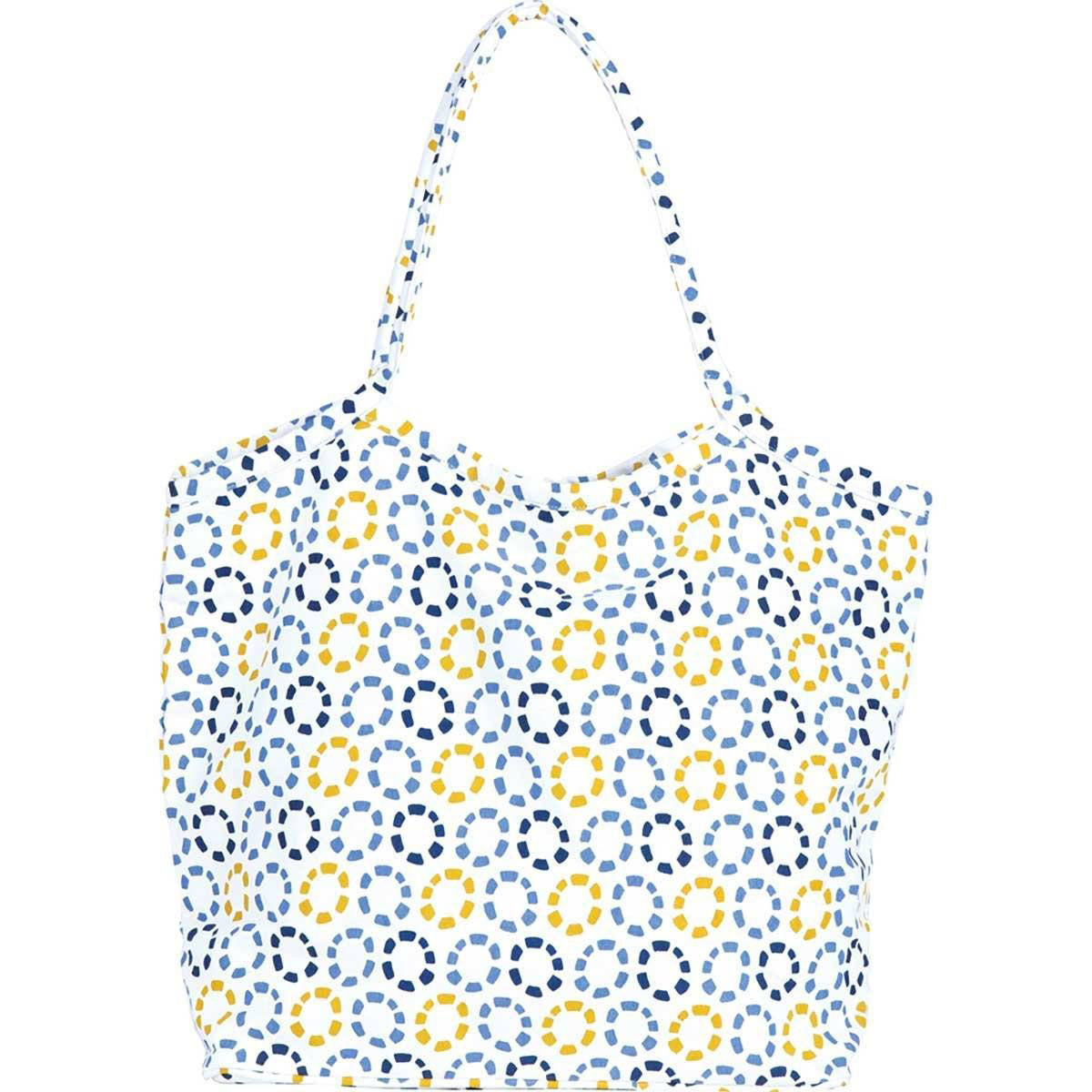 Life Preserver Beach Bucket Bag in cute blue, yellow, and white print