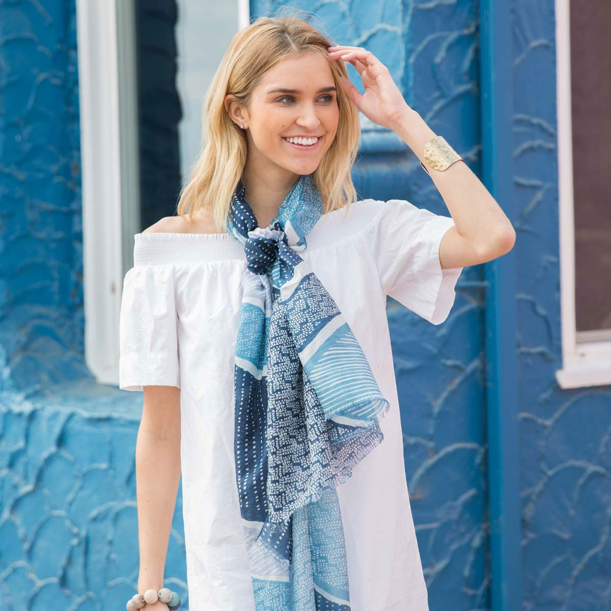 Gorgeous silk scarf in blue and white abstract patterns inspired by the ocean