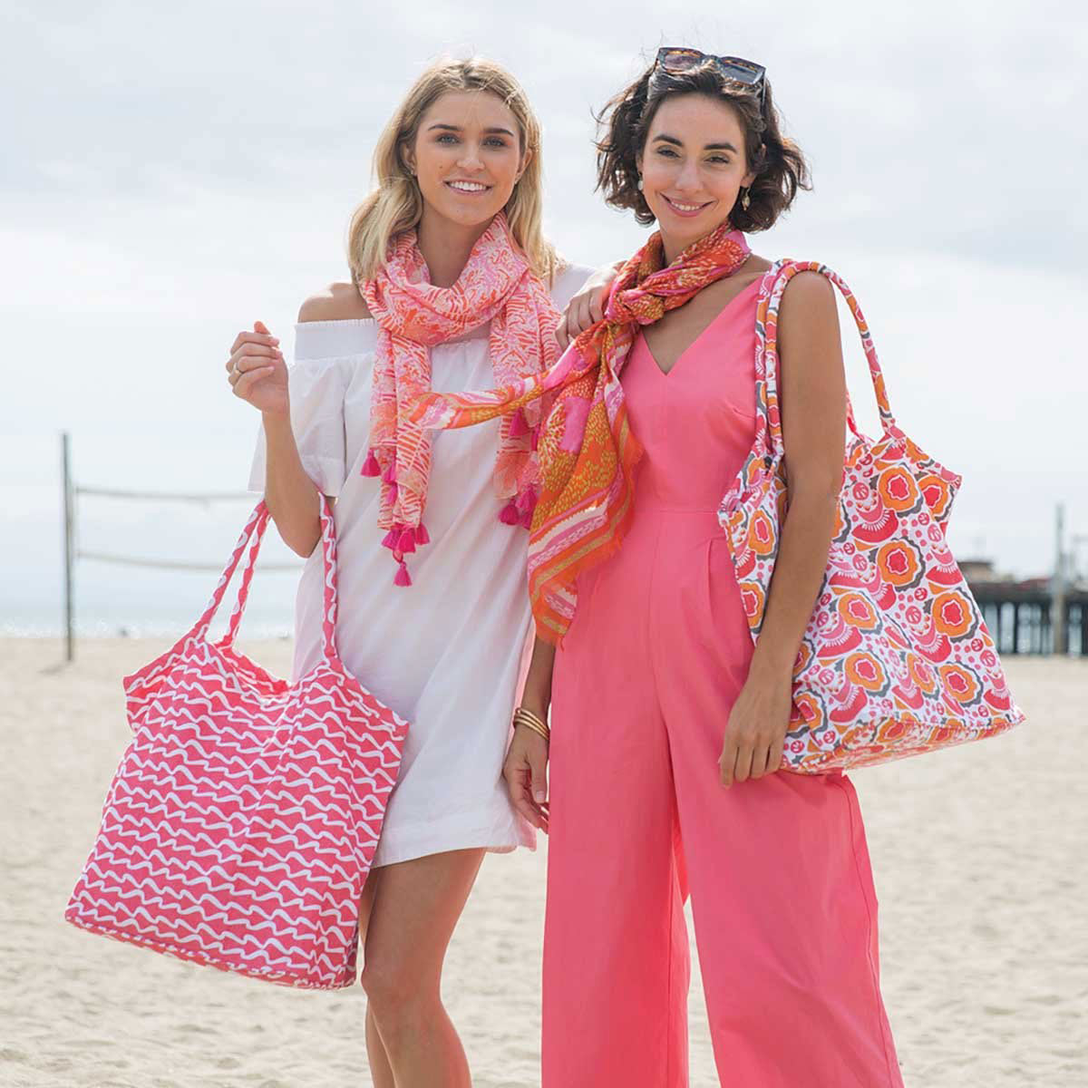 Living coral is the color of the year! Tote bags, kimonos, & summery scarves