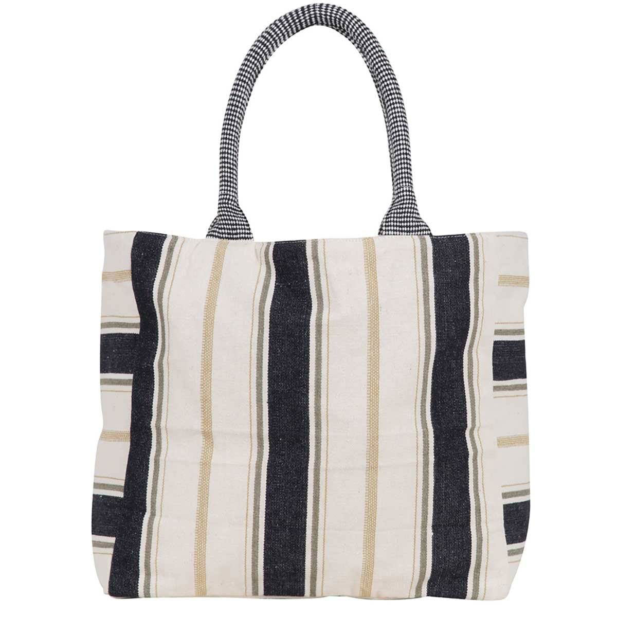 woven cotton striped tote in black, tan, and natural stripes, inspired by the coast