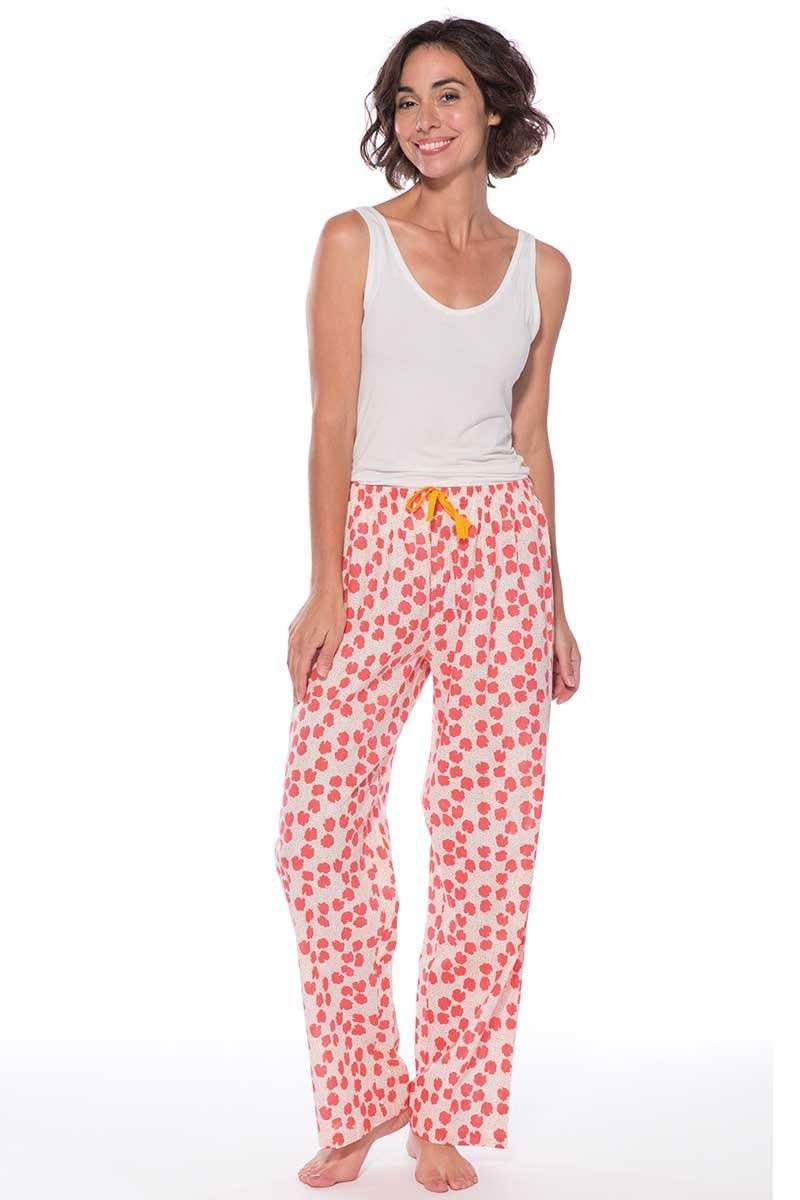 Cute cotton lounge pants in pink and white floral print