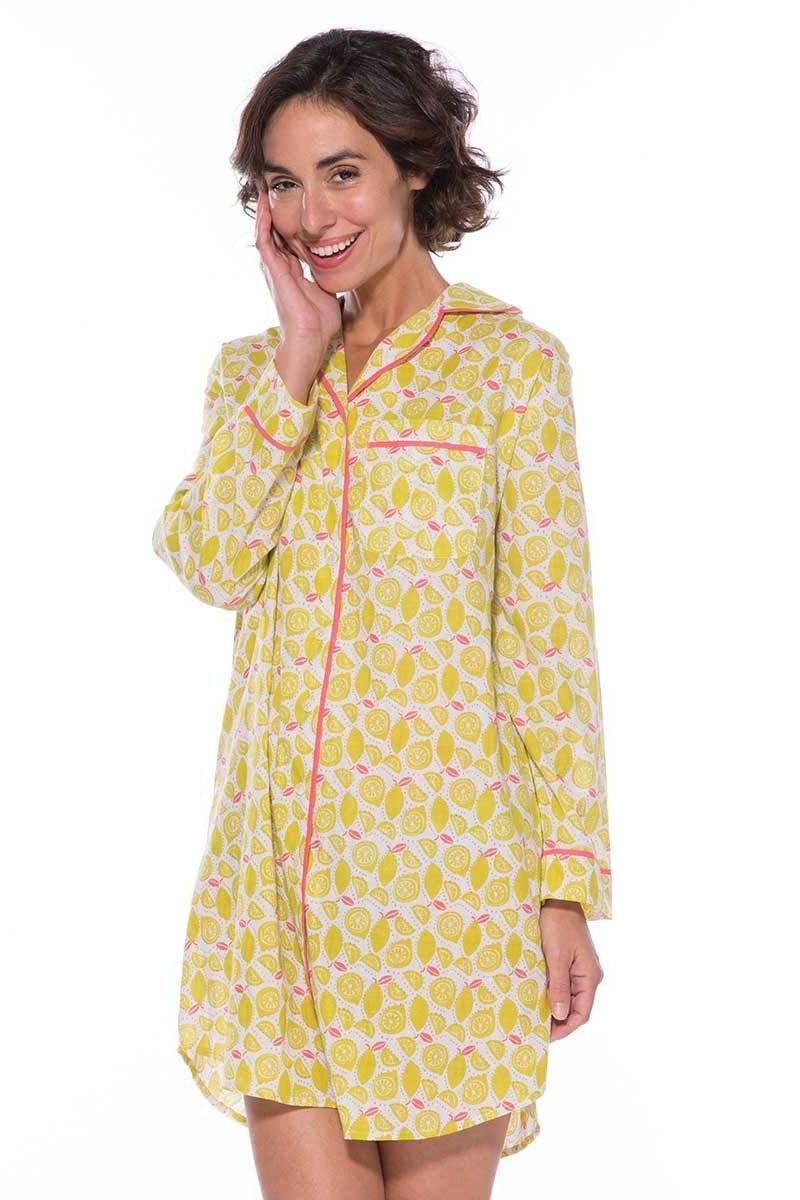 Sleep Shirt with Yellow Lemon Print