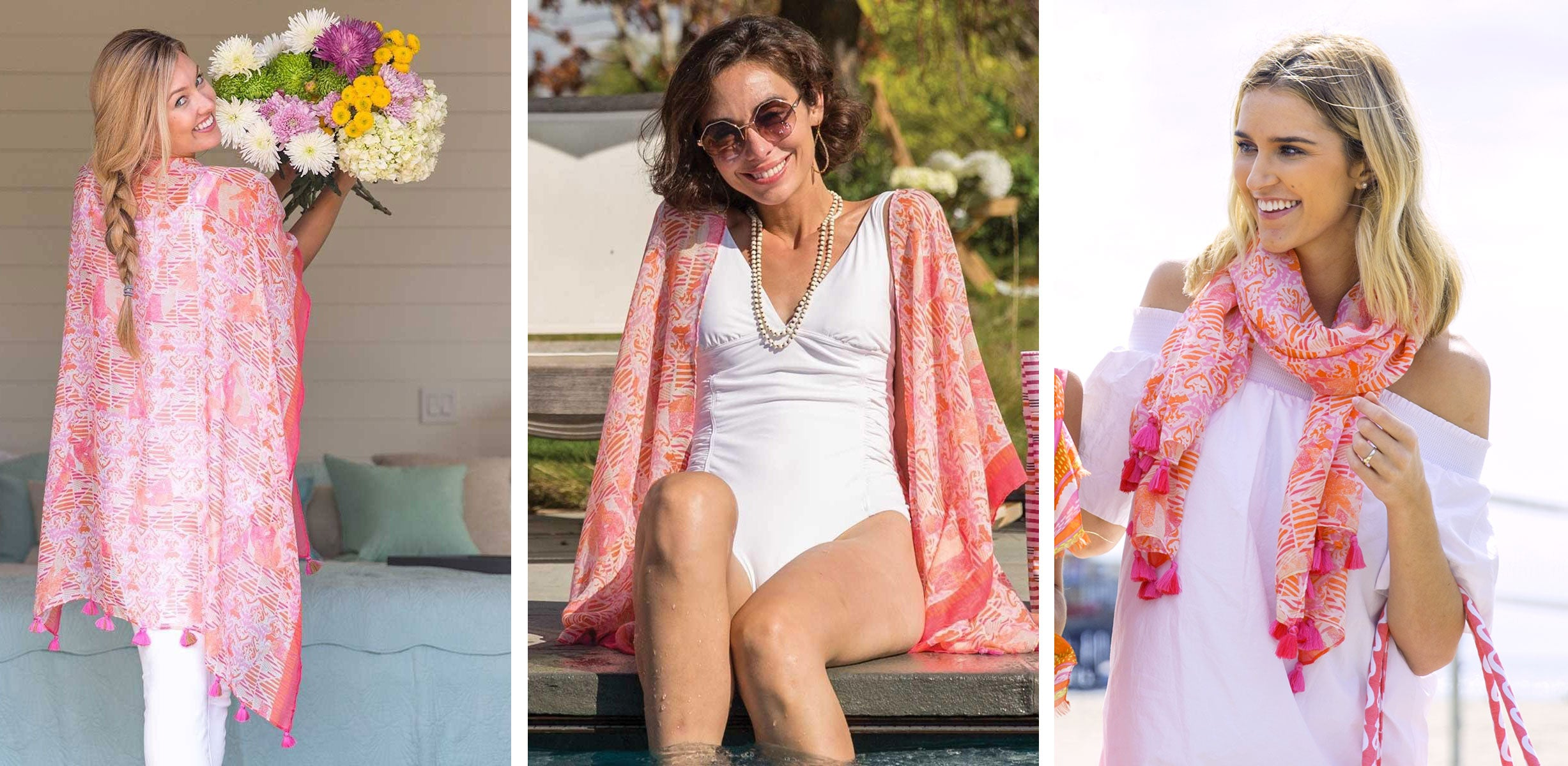 A pink and orange summer kimono worn three ways: as a kimono, swimsuit cover-up, and a scarf.